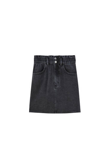 High-waist paperbag denim mini skirt - 100% ecologically grown cotton
