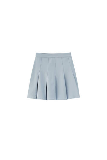 Basic box pleat mini skirt