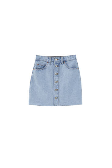 Denim mini skirt with buttons - ecologically grown cotton (at least 50%)