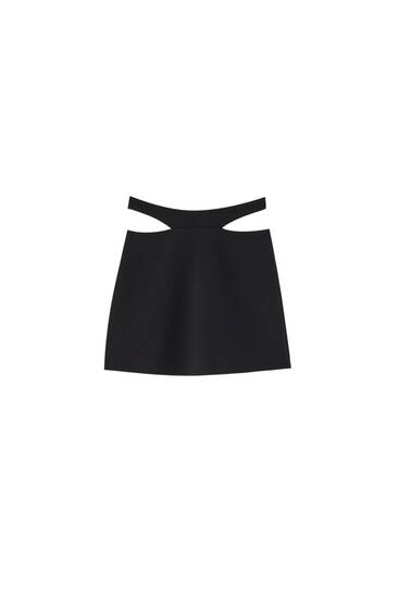 Black mini skirt with cut-out detail