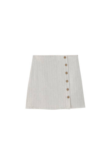 Rustic striped mini skirt with buttons - ECOVEROTM viscose (at least 75%)