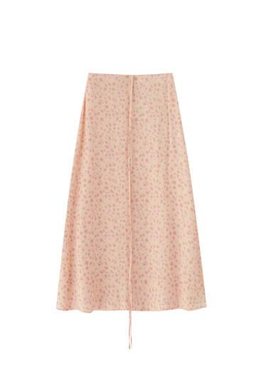 Coral print midi skirt