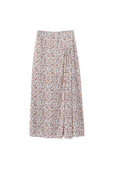 Printed midi skirt with gathered detail