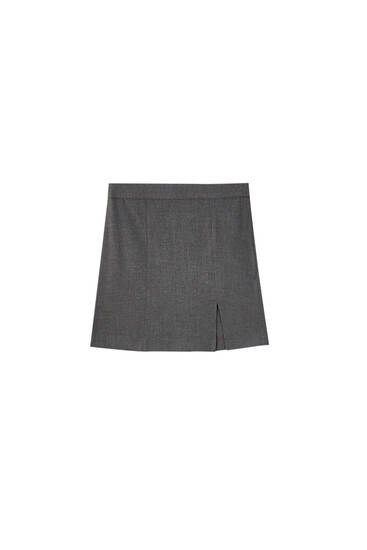 Grey mini skirt with side slit