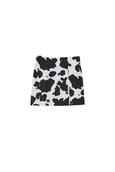 Cow print mini skirt
