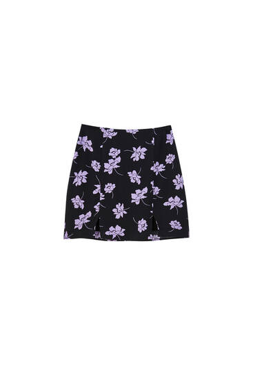 Floral mini skirt with slits
