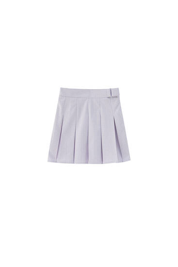 Gingham box pleat mini skirt