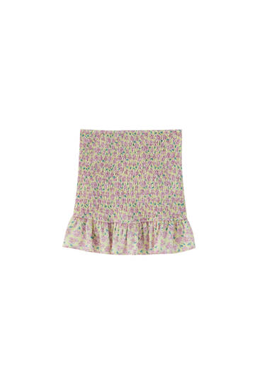 Printed mini skirt with smocking