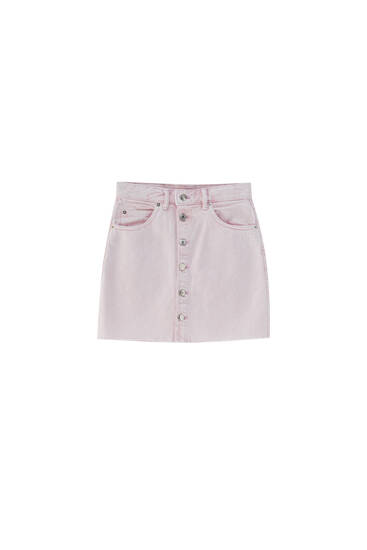 Pink denim mini skirt with buttons - ecologically grown cotton (at least 65%)