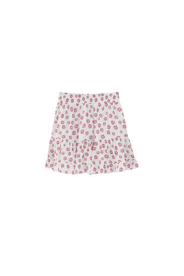 Printed mini skirt with elastic waist