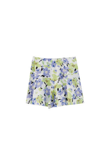 Floral skort with yoke detail