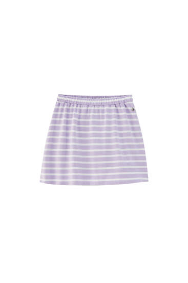 Violet striped mini skirt