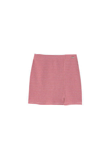 Red striped mini skirt