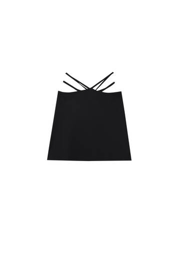 Mini skirt with cut out waist straps
