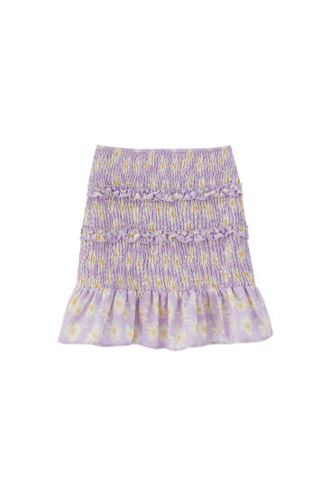 Printed mini skirt with shirring and ruffles