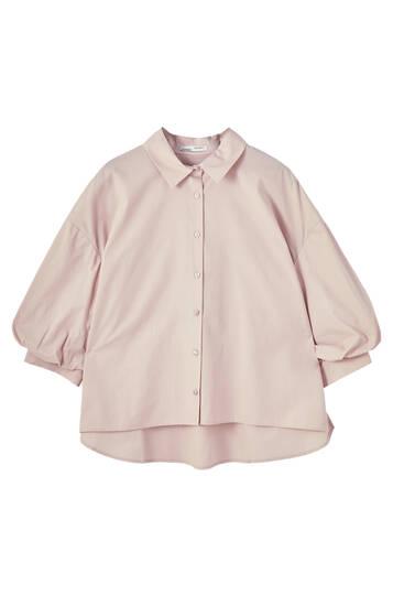 Poplin shirt with balloon sleeves