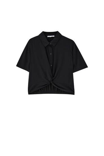 Cropped shirt with false knot