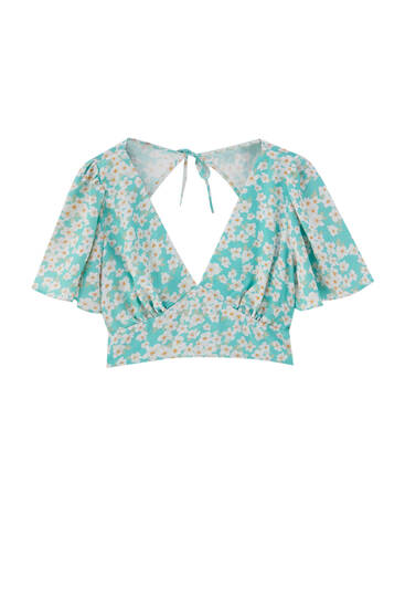 Printed shirt with cut-out detail