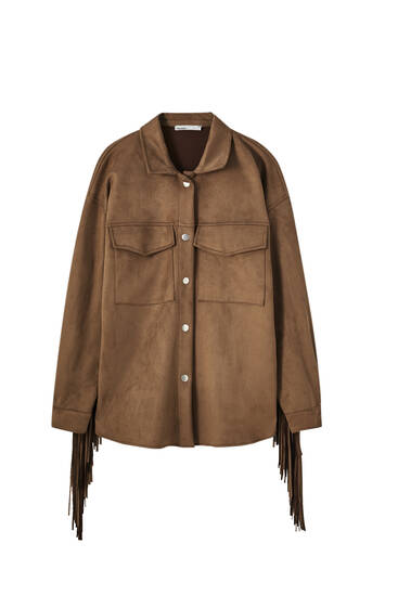 Faux suede overshirt with fringing