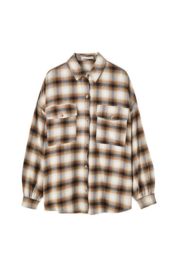 Checked brown flannel shirt
