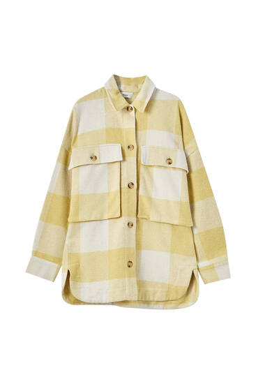 Oversized yellow check overshirt