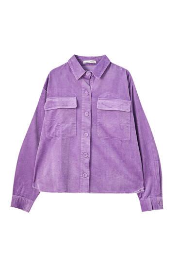 Κοτλέ πουκάμισο με τσέπες στο μπροστινό τμήμα