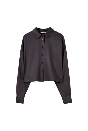 Cropped satijnen blouse