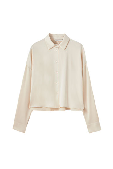 Cropped satin shirt