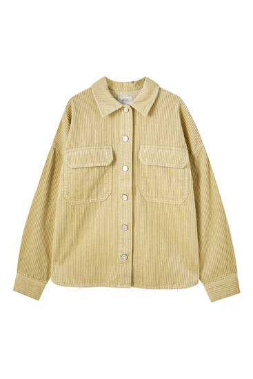Corduroy shirt with front pockets