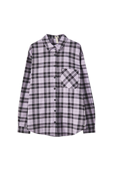 Oversize lilac check shirt