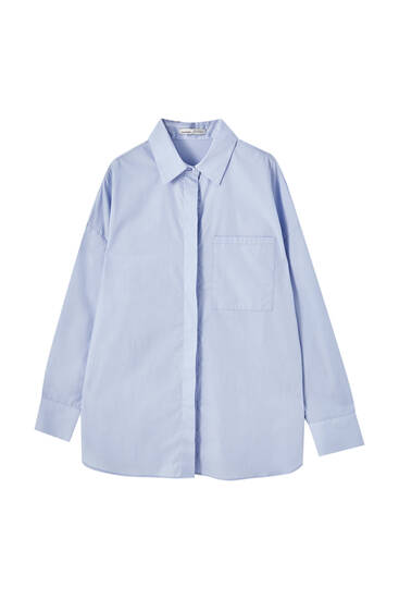 Poplin shirt with pocket