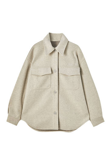 Synthetic wool overshirt in pastel colours