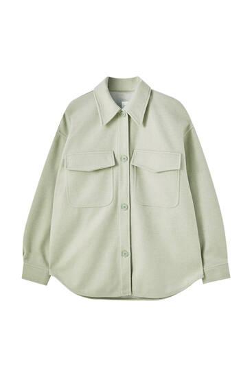Πάνινο overshirt σε παστέλ χρώματα