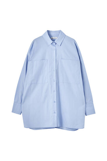 Poplin shirt with pockets