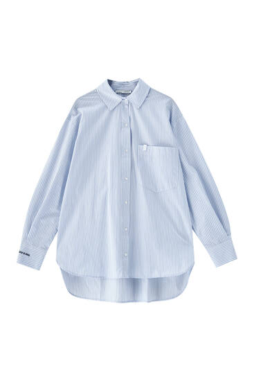 Striped blue shirt with embroidered detail