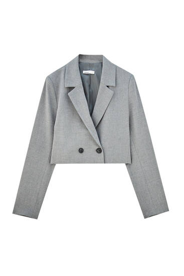 Cropped blazer with lapel collar