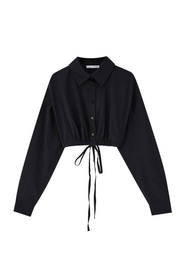 Black cropped shirt with ties