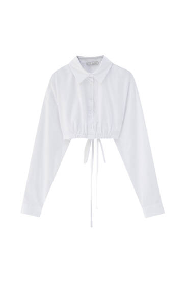 Cropped poplin shirt with strap detail