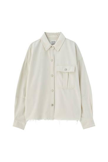 Skjortjacka i denim med pressveck