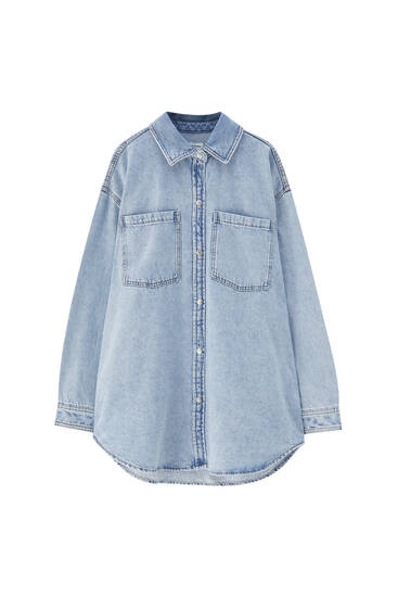 Denim overshirt with pockets - ecologically grown cotton (at least 50%)