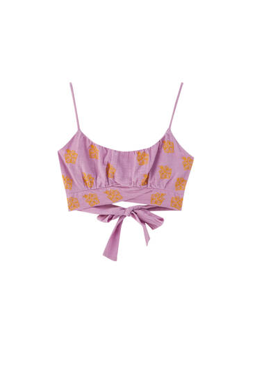 Strappy crop top with hibiscus floral print