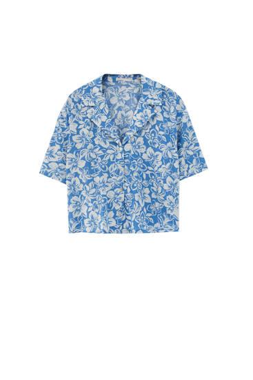 Skjorta med hibiskusmönster