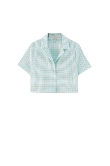 Cropped checked shirt with short sleeves