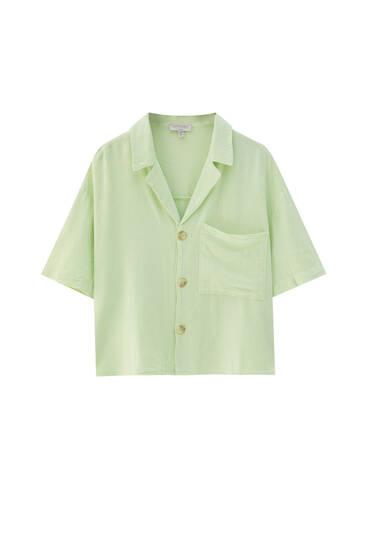 Grubaus audinio marškiniai trumpomis rankovėmis