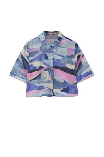 Рубашка с пейзажным принтом