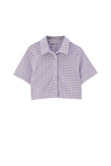 Lilac gingham check shirt