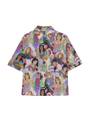 Рубашка свободного кроя с принтом «Лица»