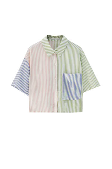 Short sleeve striped patchwork shirt