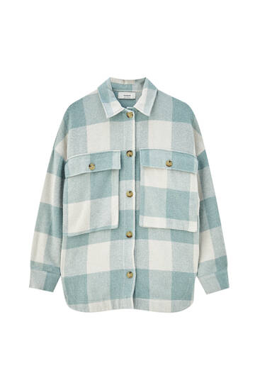Oversize check overshirt with pockets