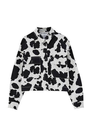 Cow print overshirt